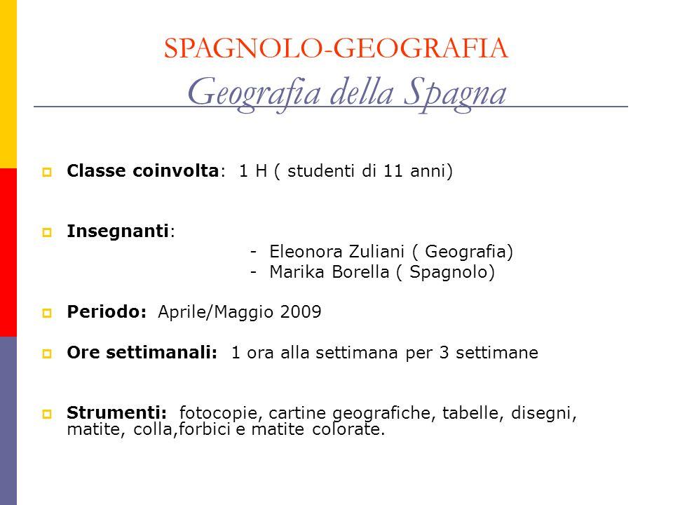 SPAGNOLO-GEOGRAFIA Geografia della Spagna Classe coinvolta: 1 H ( studenti di 11 anni) Insegnanti: - Eleonora Zuliani ( Geografia) - Marika Borella (