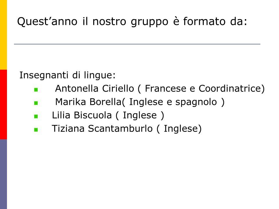 Insegnanti di lingue: Antonella Ciriello ( Francese e Coordinatrice) Marika Borella( Inglese e spagnolo ) Lilia Biscuola ( Inglese ) Tiziana Scantambu