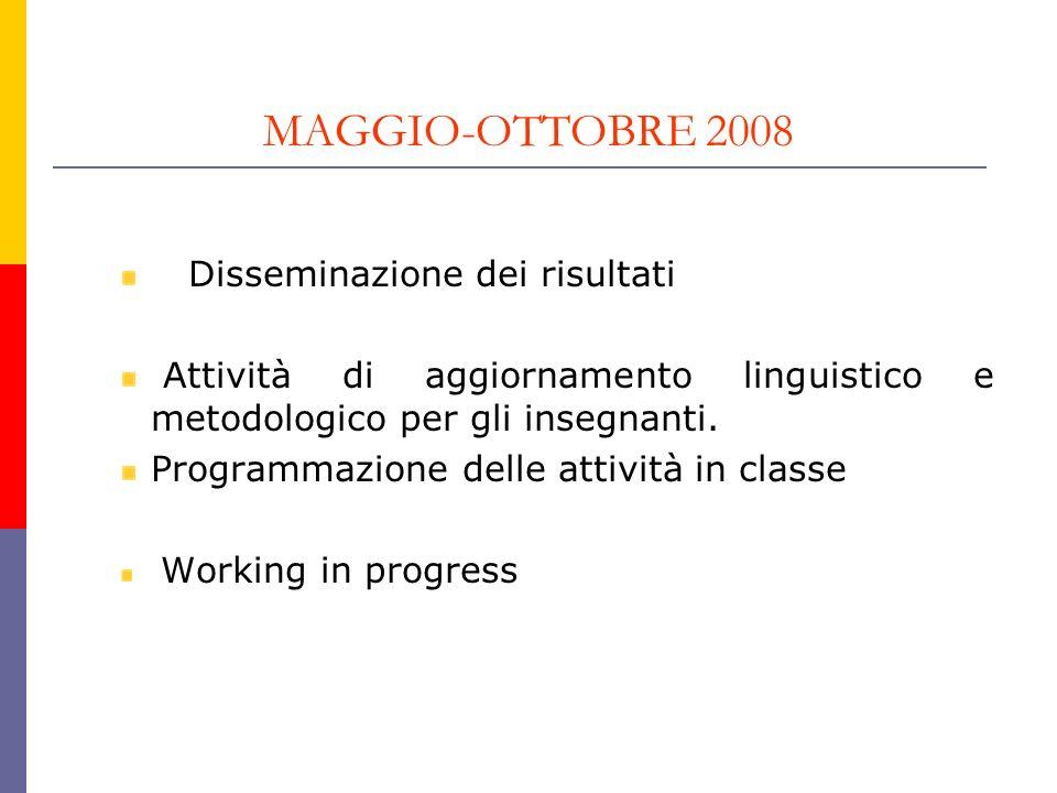 MAGGIO-OTTOBRE 2008 Disseminazione dei risultati Attività di aggiornamento linguistico e metodologico per gli insegnanti. Programmazione delle attivit