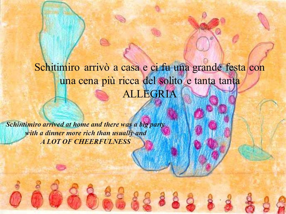 Schitimiro arrivò a casa e ci fu una grande festa con una cena più ricca del solito e tanta tanta ALLEGRIA Schintimiro arrived at home and there was a big party with a dinner more rich than usually and A LOT OF CHEERFULNESS