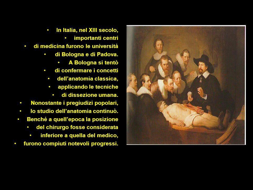 In Italia, nel XIII secolo, importanti centri di medicina furono le università di Bologna e di Padova. A Bologna si tentò di confermare i concetti del