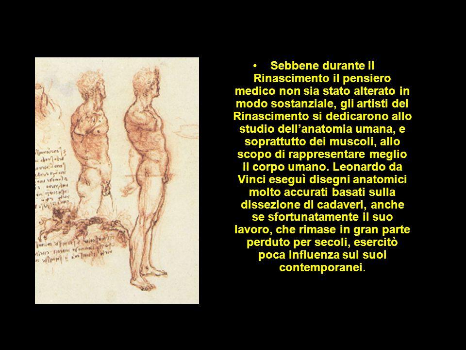 Sebbene durante il Rinascimento il pensiero medico non sia stato alterato in modo sostanziale, gli artisti del Rinascimento si dedicarono allo studio