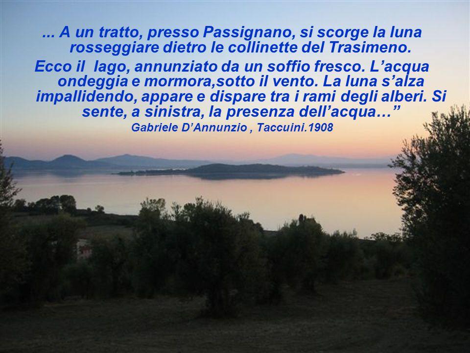 ... A un tratto, presso Passignano, si scorge la luna rosseggiare dietro le collinette del Trasimeno. Ecco il lago, annunziato da un soffio fresco. La