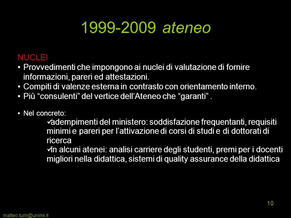 matteo.turri@unimi.it 10 1999-2009 ateneo NUCLEI Provvedimenti che impongono ai nuclei di valutazione di fornire informazioni, pareri ed attestazioni.