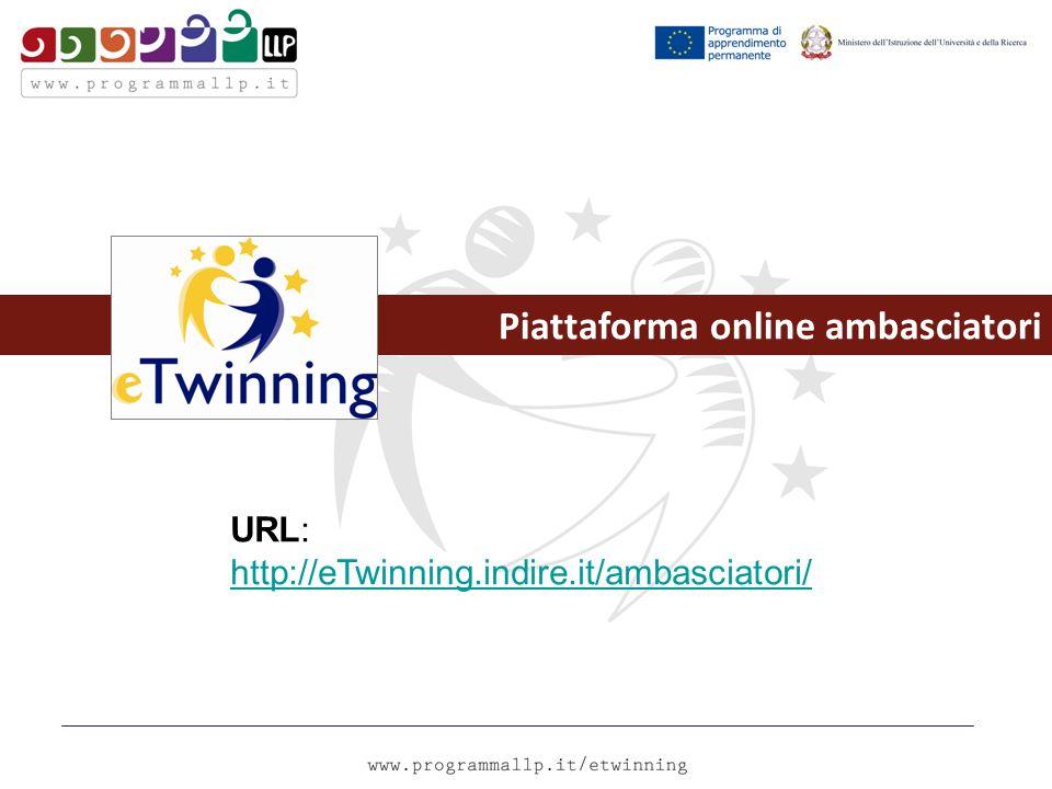 Piattaforma online ambasciatori URL: http://eTwinning.indire.it/ambasciatori/ http://eTwinning.indire.it/ambasciatori/
