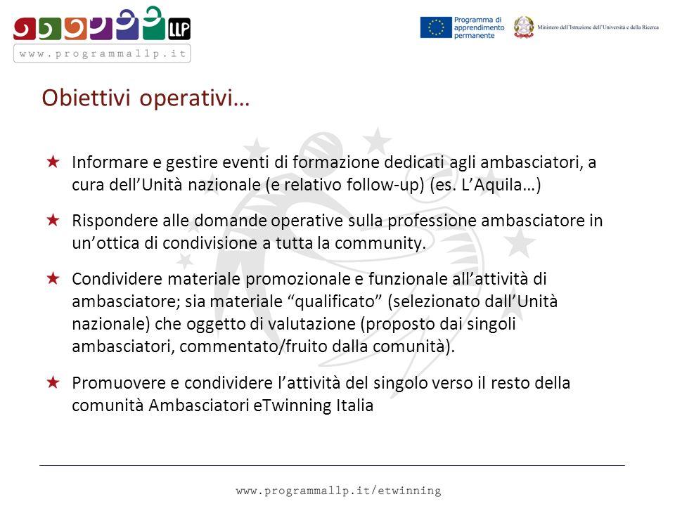 Obiettivi operativi… Informare e gestire eventi di formazione dedicati agli ambasciatori, a cura dellUnità nazionale (e relativo follow-up) (es.