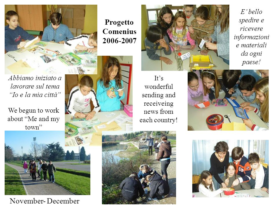 November- December Abbiamo iniziato a lavorare sul tema Io e la mia città Progetto Comenius 2006-2007 We begun to work about Me and my town Its wonderful sending and receiveing news from each country.