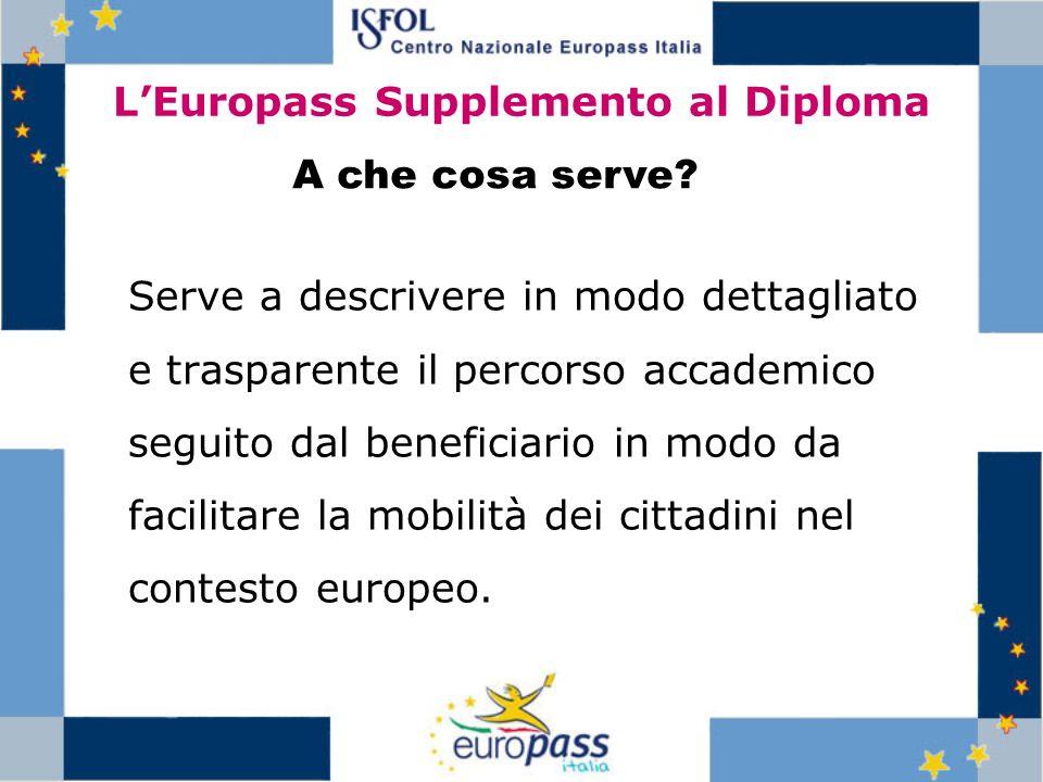 LEuropass Supplemento al Diploma Serve a descrivere in modo dettagliato e trasparente il percorso accademico seguito dal beneficiario in modo da facil