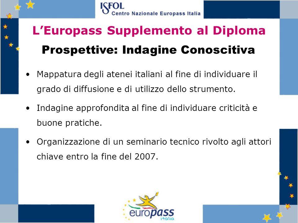 LEuropass Supplemento al Diploma Mappatura degli atenei italiani al fine di individuare il grado di diffusione e di utilizzo dello strumento. Indagine
