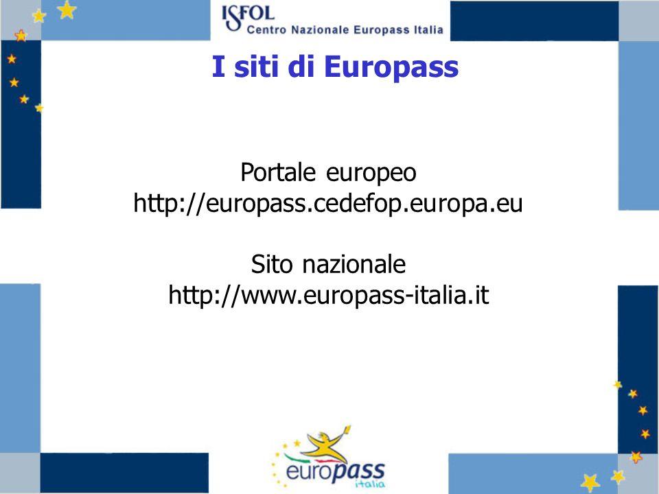 Portale europeo http://europass.cedefop.europa.eu Sito nazionale http://www.europass-italia.it I siti di Europass