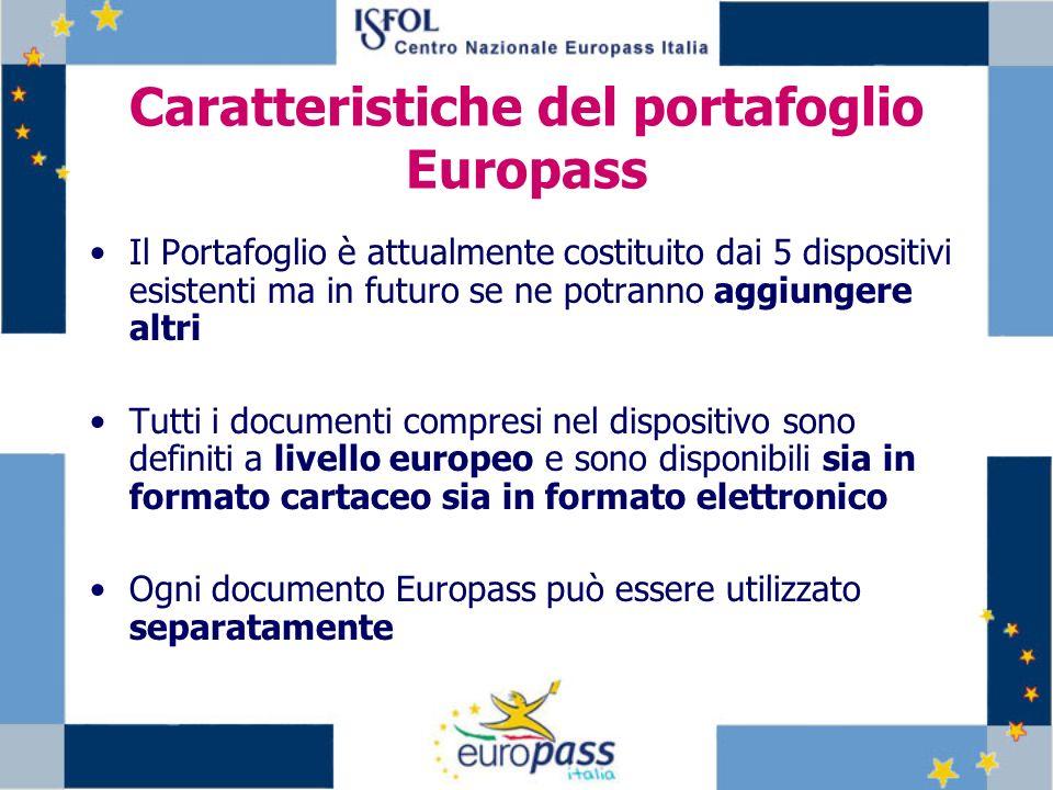 Caratteristiche del portafoglio Europass Il Portafoglio è attualmente costituito dai 5 dispositivi esistenti ma in futuro se ne potranno aggiungere al