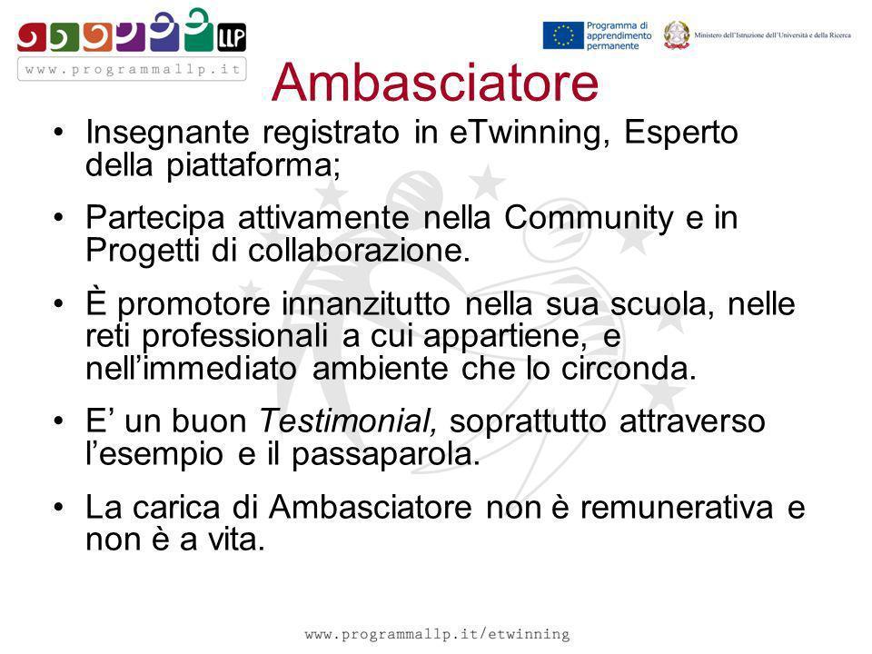 Ambasciatore Insegnante registrato in eTwinning, Esperto della piattaforma; Partecipa attivamente nella Community e in Progetti di collaborazione. È p
