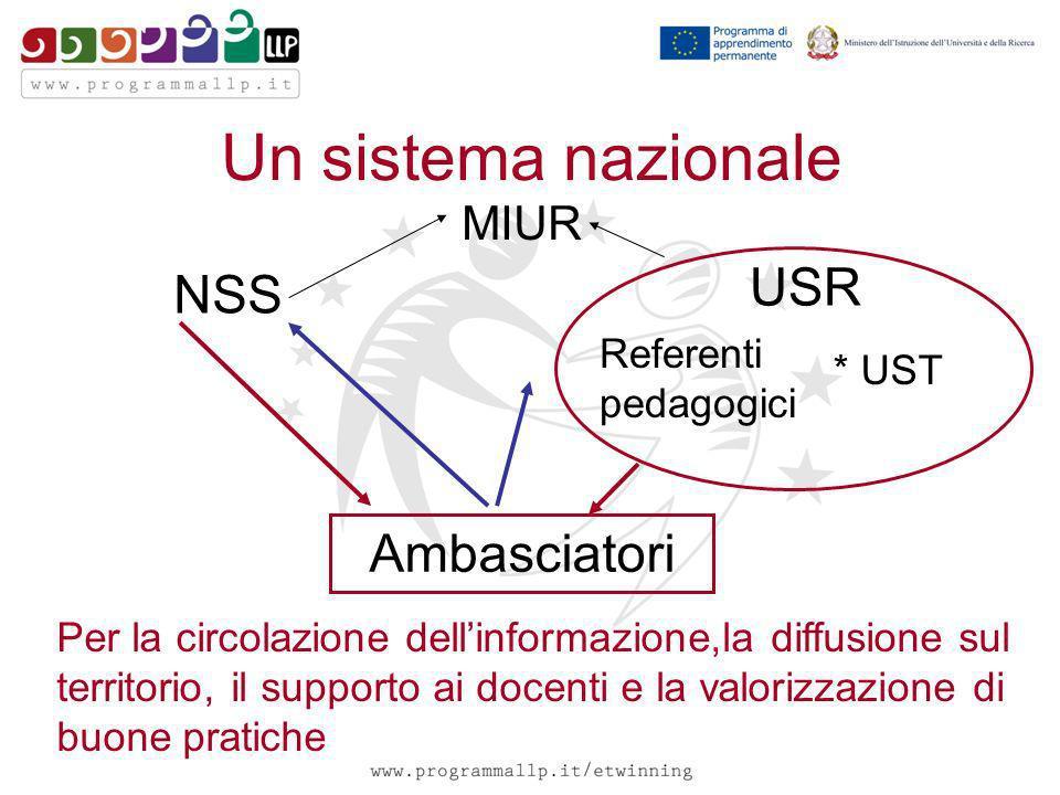 Un sistema nazionale Ambasciatori NSS USR * UST MIUR Referenti pedagogici Per la circolazione dellinformazione,la diffusione sul territorio, il suppor