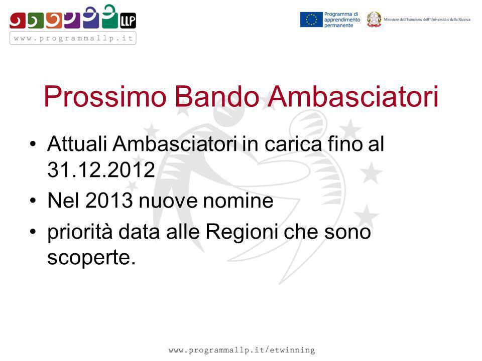 Prossimo Bando Ambasciatori Attuali Ambasciatori in carica fino al 31.12.2012 Nel 2013 nuove nomine priorità data alle Regioni che sono scoperte.