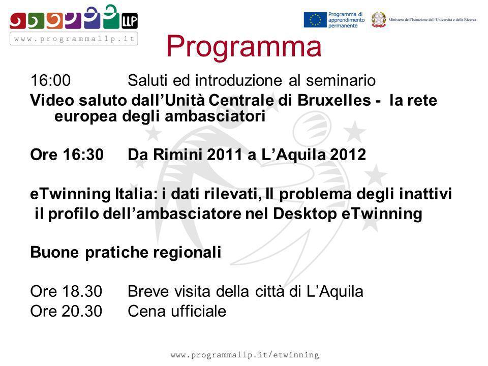 Programma 16:00 Saluti ed introduzione al seminario Video saluto dallUnità Centrale di Bruxelles - la rete europea degli ambasciatori Ore 16:30 Da Rim