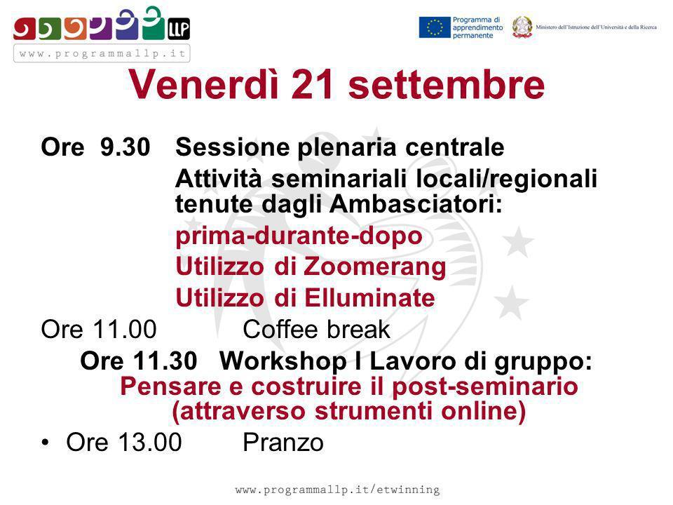 Venerdì 21 settembre Ore 9.30 Sessione plenaria centrale Attività seminariali locali/regionali tenute dagli Ambasciatori: prima-durante-dopo Utilizzo