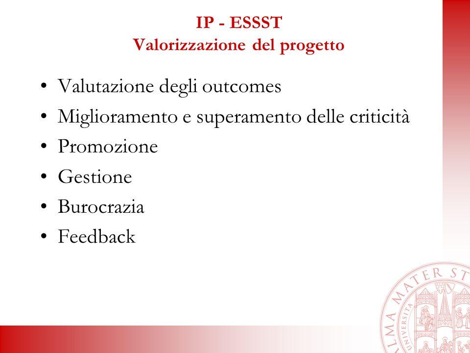 IP - ESSST Valorizzazione del progetto Valutazione degli outcomes Miglioramento e superamento delle criticità Promozione Gestione Burocrazia Feedback