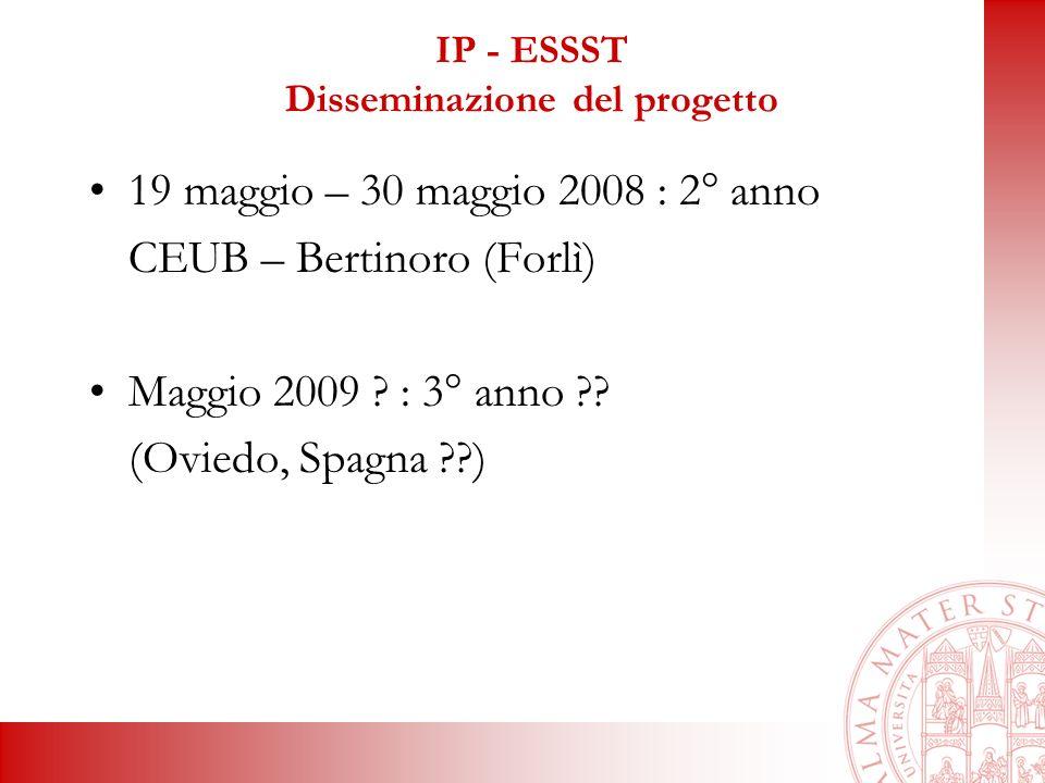IP - ESSST Disseminazione del progetto 19 maggio – 30 maggio 2008 : 2° anno CEUB – Bertinoro (Forlì) Maggio 2009 .