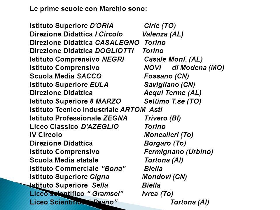 Le prime scuole con Marchio sono: Istituto Superiore D'ORIA Ciriè (TO) Direzione Didattica I Circolo Valenza (AL) Direzione Didattica CASALEGNO Torino