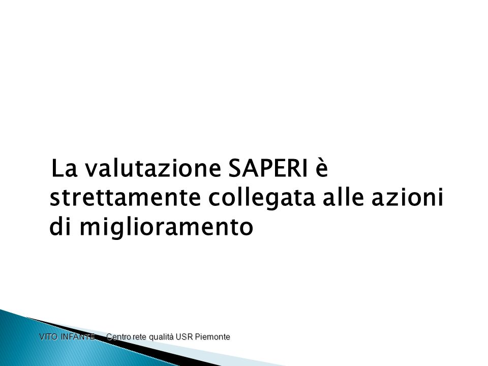 La valutazione SAPERI è strettamente collegata alle azioni di miglioramento VITO INFANTE Centro rete qualità USR Piemonte VITO INFANTE Centro rete qua