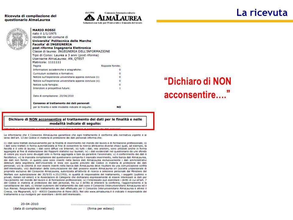 Consorzio AlmaLaurea La ricevuta Dichiaro di NON acconsentire….
