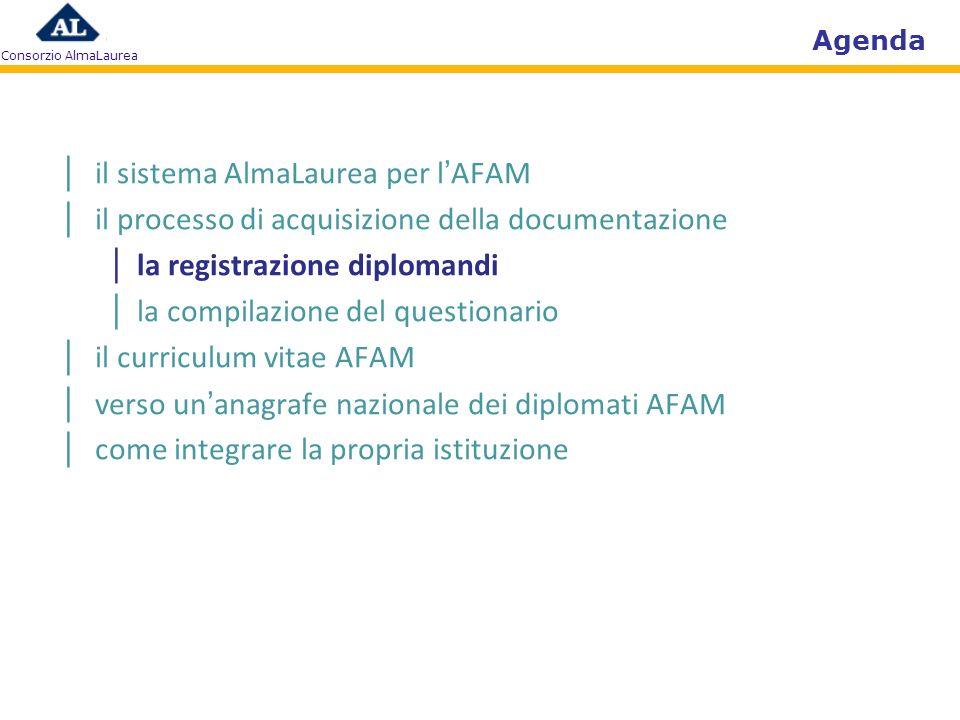 Consorzio AlmaLaurea Agenda il sistema AlmaLaurea per lAFAM il processo di acquisizione della documentazione la registrazione diplomandi la compilazio