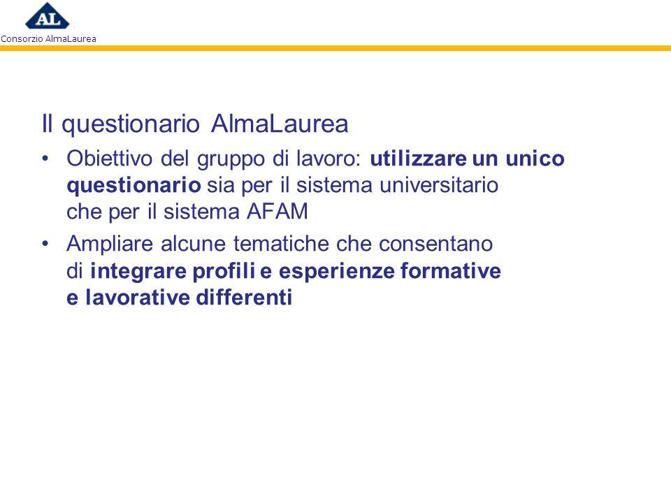 Consorzio AlmaLaurea Il questionario AlmaLaurea Obiettivo del gruppo di lavoro: utilizzare un unico questionario sia per il sistema universitario che