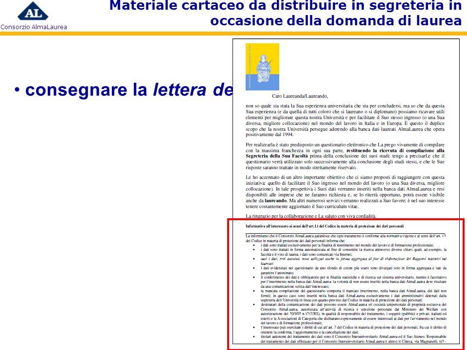 Consorzio AlmaLaurea consegnare la lettera del Direttore Materiale cartaceo da distribuire in segreteria in occasione della domanda di laurea