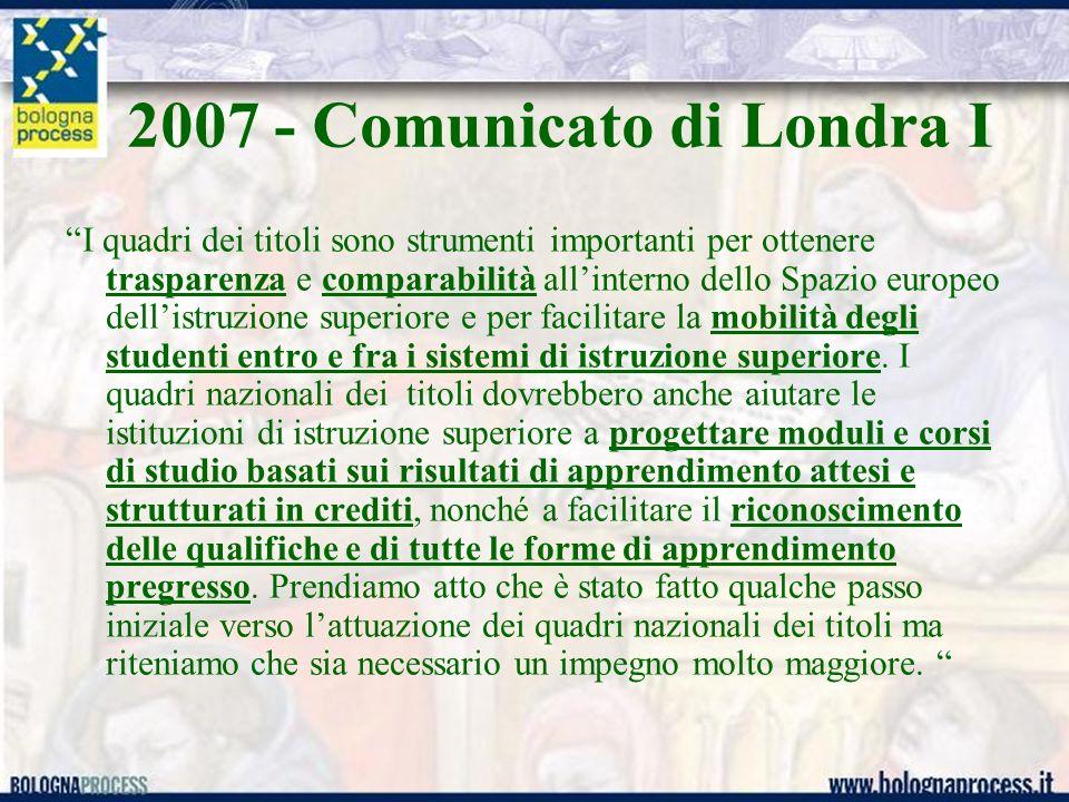 2007 - Comunicato di Londra I I quadri dei titoli sono strumenti importanti per ottenere trasparenza e comparabilità allinterno dello Spazio europeo d