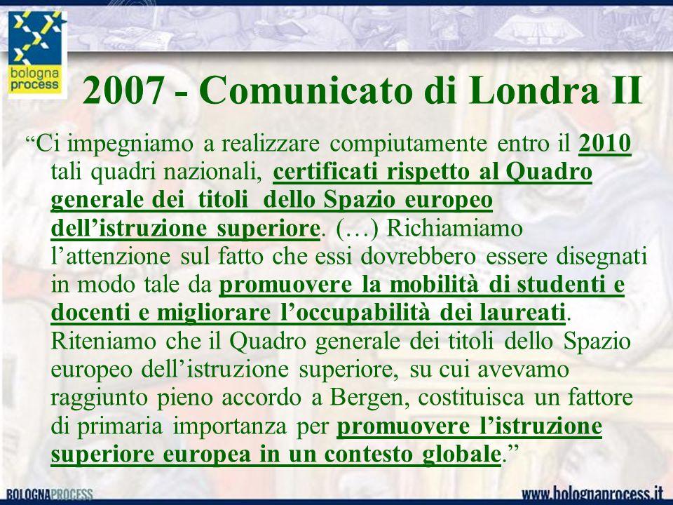 2007 - Comunicato di Londra II Ci impegniamo a realizzare compiutamente entro il 2010 tali quadri nazionali, certificati rispetto al Quadro generale dei titoli dello Spazio europeo dellistruzione superiore.
