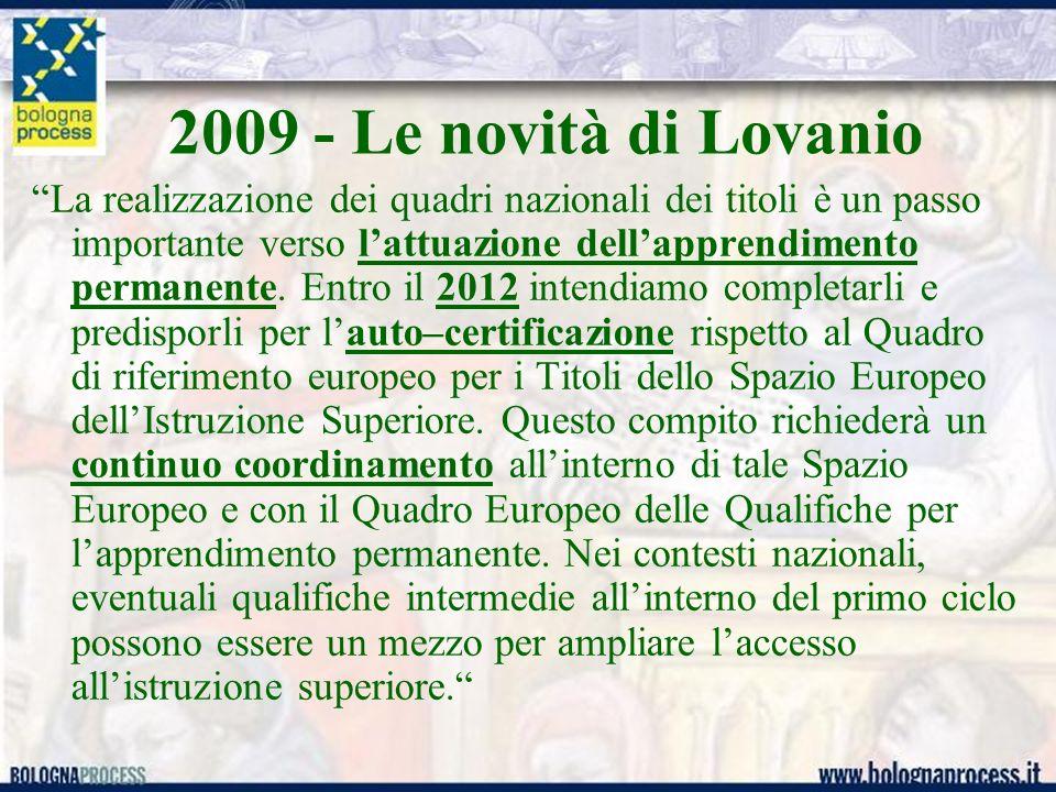 2009 - Le novità di Lovanio La realizzazione dei quadri nazionali dei titoli è un passo importante verso lattuazione dellapprendimento permanente.