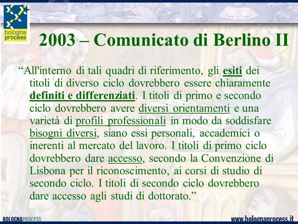 2003 – Comunicato di Berlino II All interno di tali quadri di riferimento, gli esiti dei titoli di diverso ciclo dovrebbero essere chiaramente definiti e differenziati.