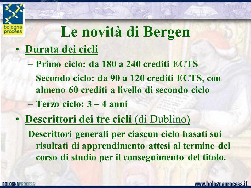 Le novità di Bergen Durata dei cicli –Primo ciclo: da 180 a 240 crediti ECTS –Secondo ciclo: da 90 a 120 crediti ECTS, con almeno 60 crediti a livello