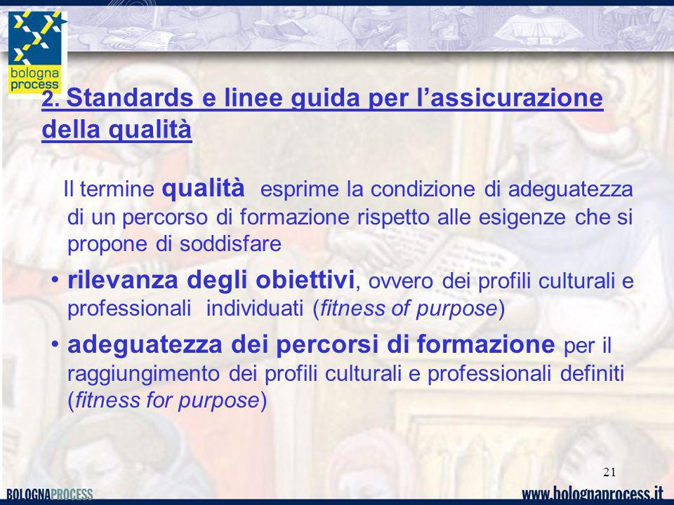 21 Il termine qualità esprime la condizione di adeguatezza di un percorso di formazione rispetto alle esigenze che si propone di soddisfare rilevanza