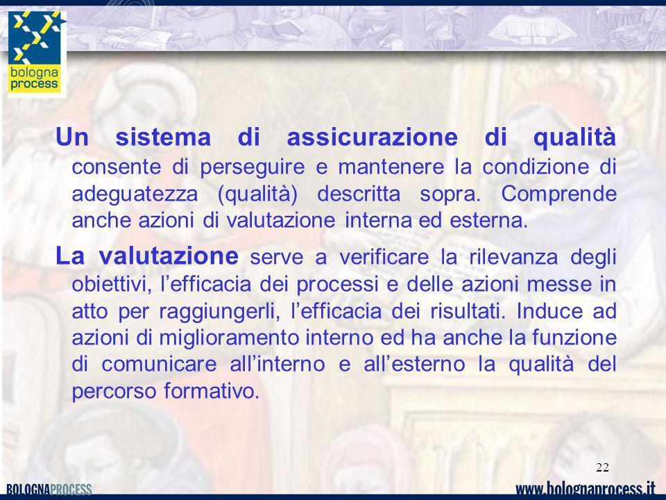 22 Un sistema di assicurazione di qualità consente di perseguire e mantenere la condizione di adeguatezza (qualità) descritta sopra. Comprende anche a