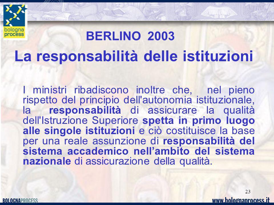 23 La responsabilità delle istituzioni I ministri ribadiscono inoltre che, nel pieno rispetto del principio dell'autonomia istituzionale, la responsab