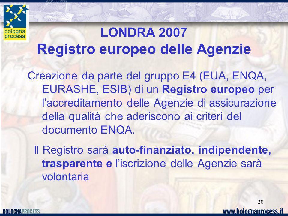 28 LONDRA 2007 Registro europeo delle Agenzie Creazione da parte del gruppo E4 (EUA, ENQA, EURASHE, ESIB) di un Registro europeo per laccreditamento delle Agenzie di assicurazione della qualità che aderiscono ai criteri del documento ENQA.