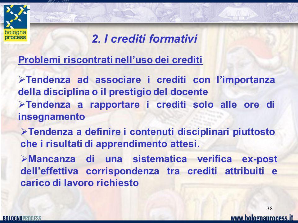 38 2. I crediti formativi Problemi riscontrati nelluso dei crediti Tendenza ad associare i crediti con limportanza della disciplina o il prestigio del