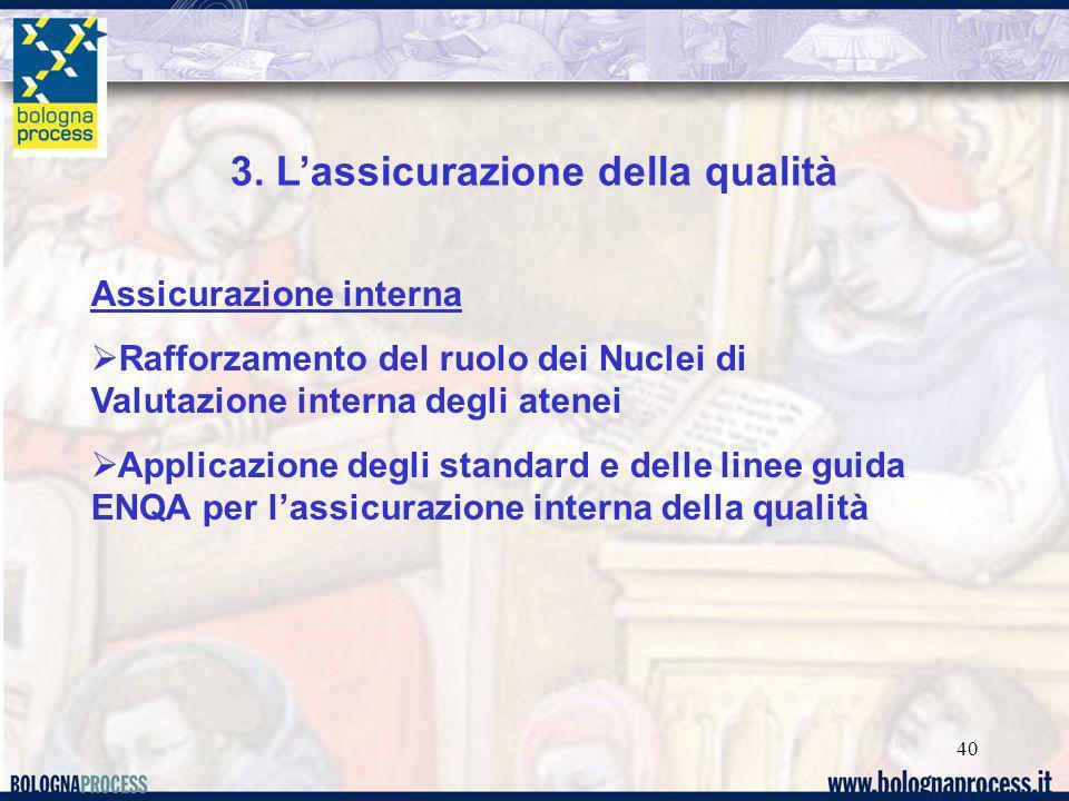 40 3. Lassicurazione della qualità Assicurazione interna Rafforzamento del ruolo dei Nuclei di Valutazione interna degli atenei Applicazione degli sta