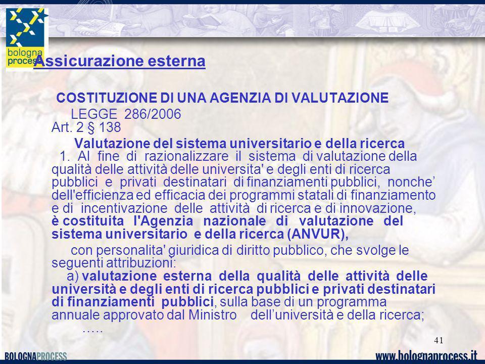 41 Assicurazione esterna COSTITUZIONE DI UNA AGENZIA DI VALUTAZIONE LEGGE 286/2006 Art. 2 § 138 Valutazione del sistema universitario e della ricerca