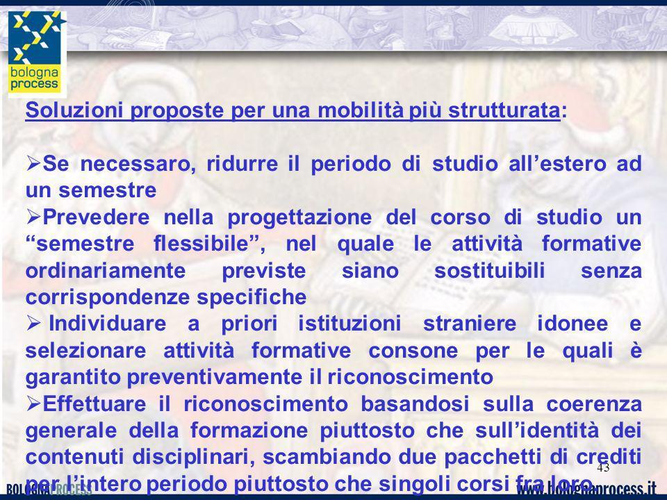 43 Soluzioni proposte per una mobilità più strutturata: Se necessaro, ridurre il periodo di studio allestero ad un semestre Prevedere nella progettazi
