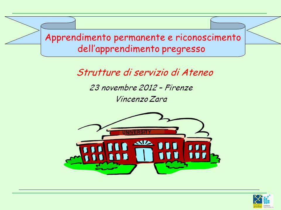Apprendimento permanente e riconoscimento dellapprendimento pregresso Strutture di servizio di Ateneo 23 novembre 2012 – Firenze Vincenzo Zara UNIVERSITY