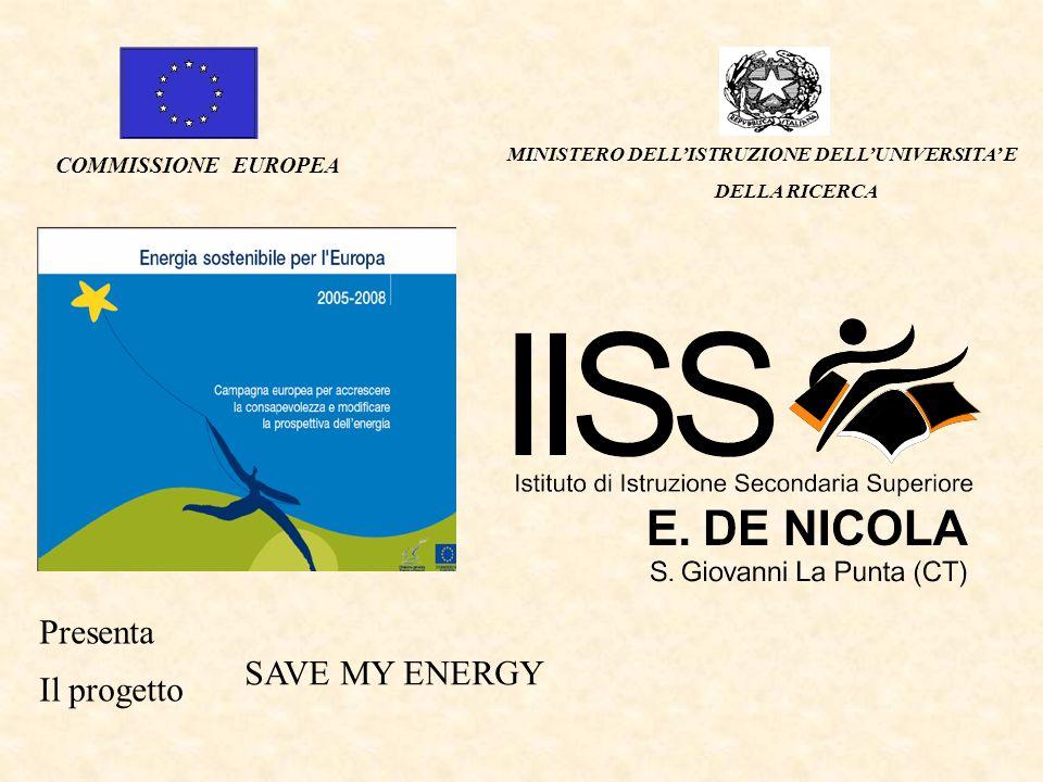 MINISTERO DELLISTRUZIONE DELLUNIVERSITA E DELLA RICERCA COMMISSIONE EUROPEA Presenta Il progetto SAVE MY ENERGY