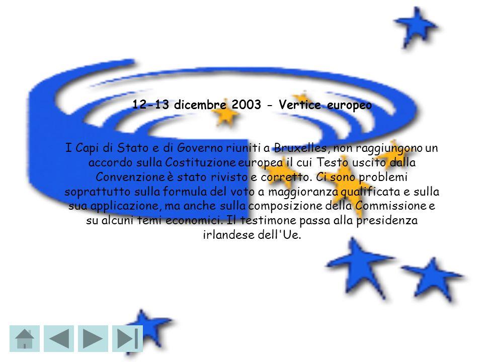 12-13 dicembre 2003 - Vertice europeo I Capi di Stato e di Governo riuniti a Bruxelles, non raggiungono un accordo sulla Costituzione europea il cui T