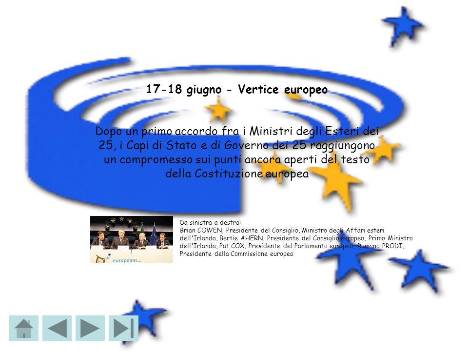 17-18 giugno - Vertice europeo Dopo un primo accordo fra i Ministri degli Esteri dei 25, i Capi di Stato e di Governo dei 25 raggiungono un compromess