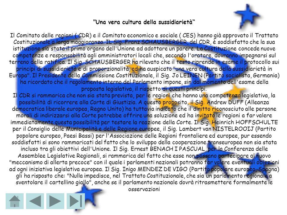 Una vera cultura della sussidiarietà Il Comitato delle regioni ( CDR) e il Comitato economico e sociale ( CES) hanno già approvato il Trattato Costituzionale a larga maggioranza.