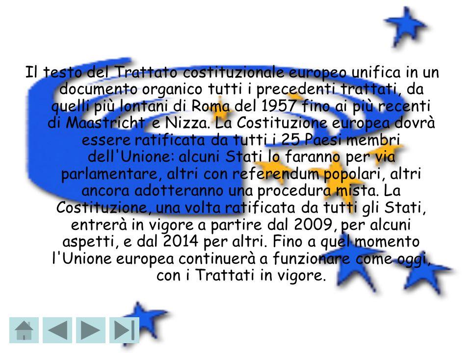 Il testo del Trattato costituzionale europeo unifica in un documento organico tutti i precedenti trattati, da quelli più lontani di Roma del 1957 fino