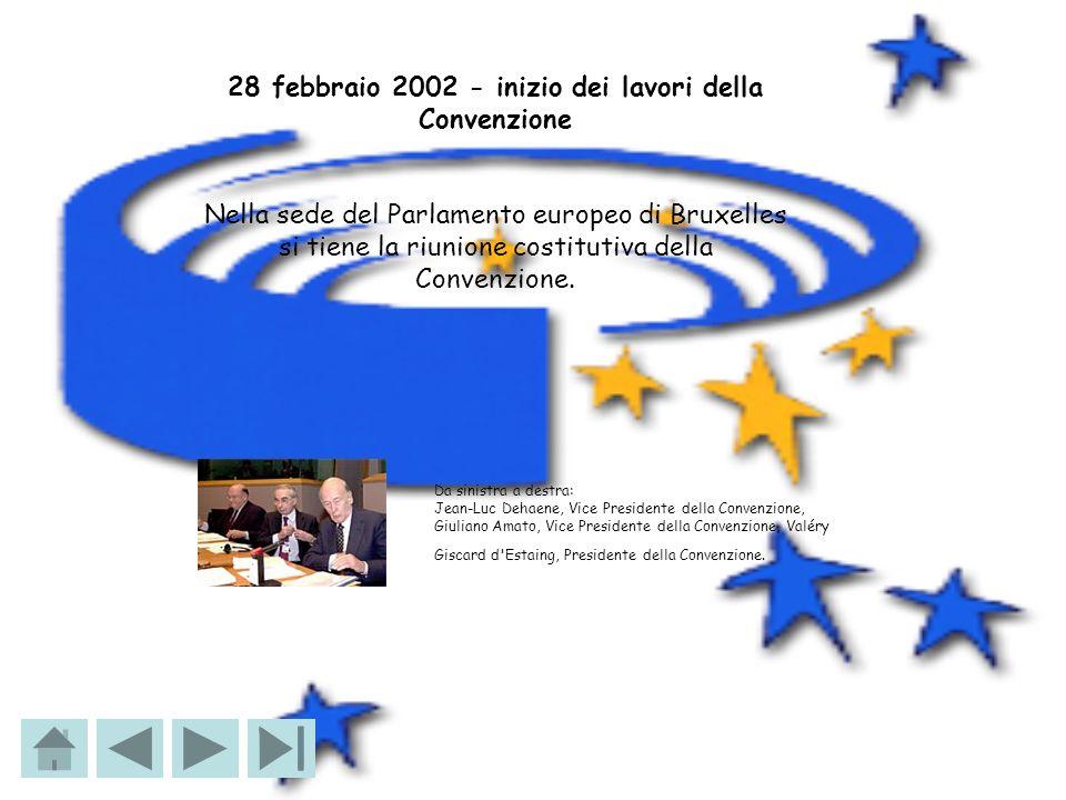 28 febbraio 2002 - inizio dei lavori della Convenzione Nella sede del Parlamento europeo di Bruxelles si tiene la riunione costitutiva della Convenzio