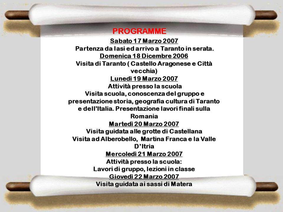 MARZO MARZO VISITA DI SCAMBIO PRESSO F.S. CABRINI F.S. CABRINI TARANTO, ITALIA 17 MARZO – 30 MARZO 2007 ( 14 GIORNI) ( 14 GIORNI) Photo gallery