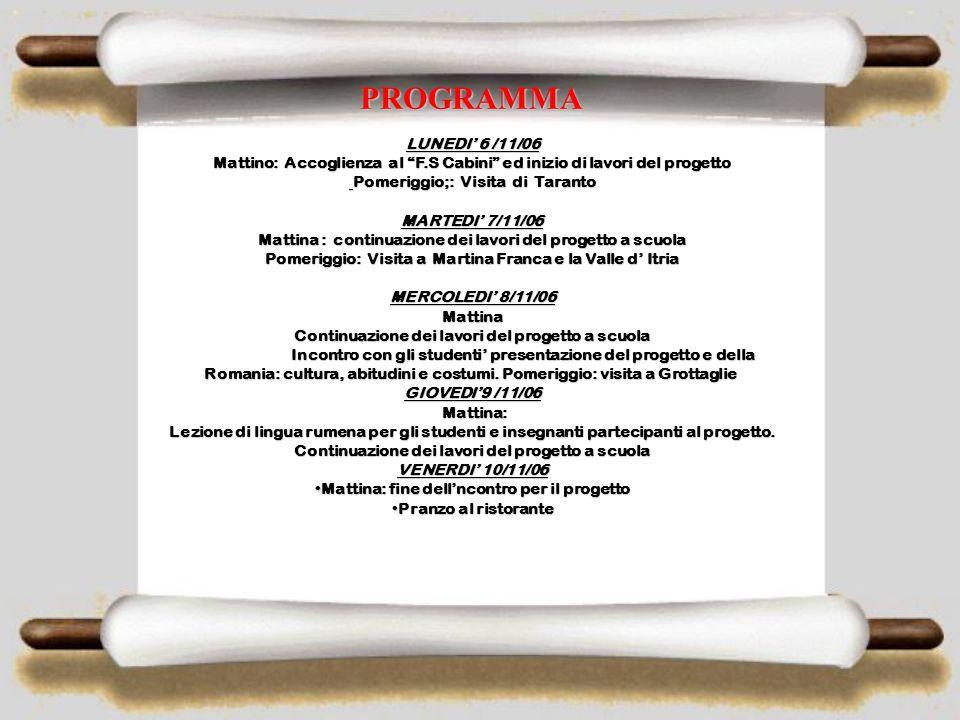 DIARIO OF COMENIUS PROJECT 1.2 ENVIRONMENT- OUR TREASURE,OUR RESOURCE NOVEMBRE VISITA PREPARATORIA IPS F.S. CABRINI TARANTO, ITALIA 6 – 10 NOVEMBRE Ph